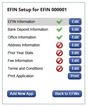 EFIN setup panel