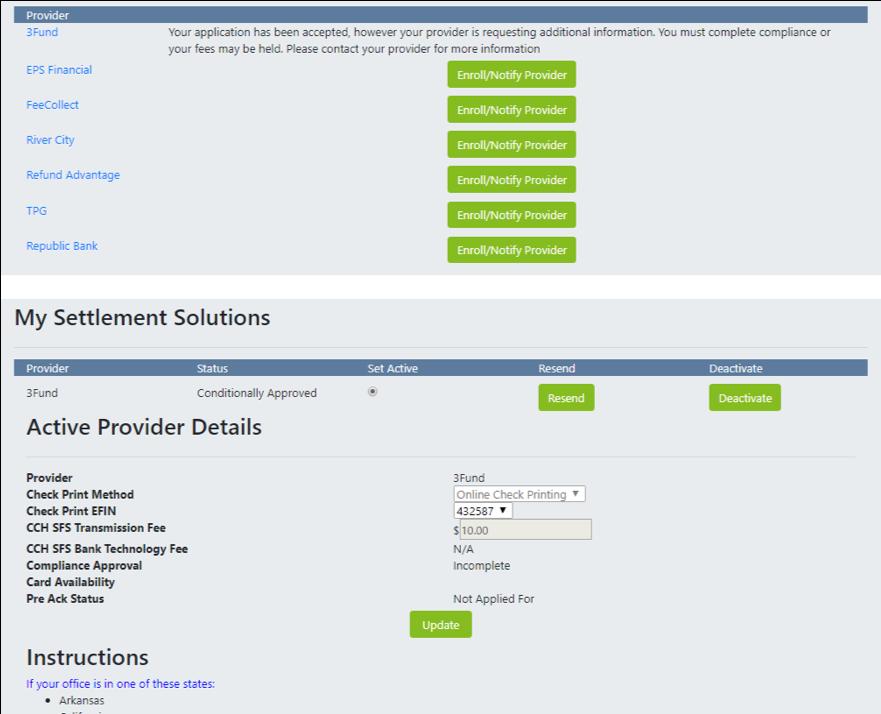 Settlement provider details