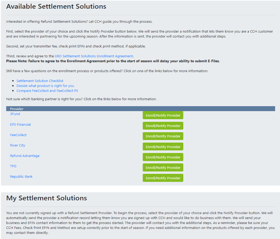 Taxwise Select Settlement Solution