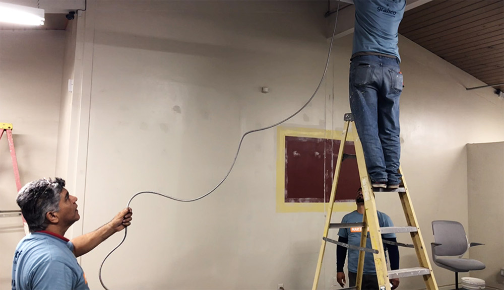 Office Makeover - installing conduit