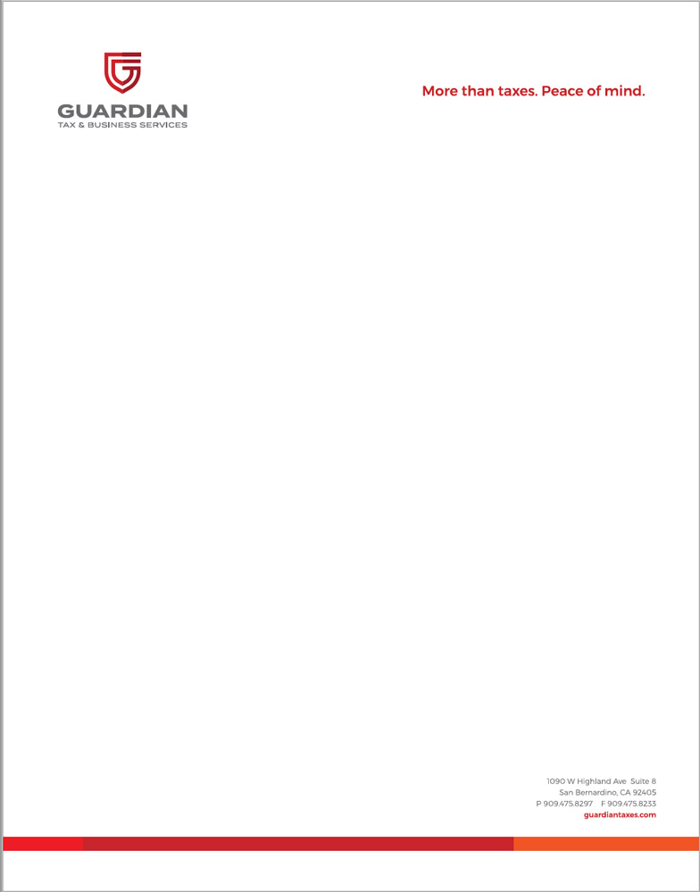 Guardian Tax letterhead