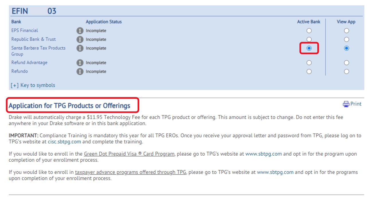 TPG Application