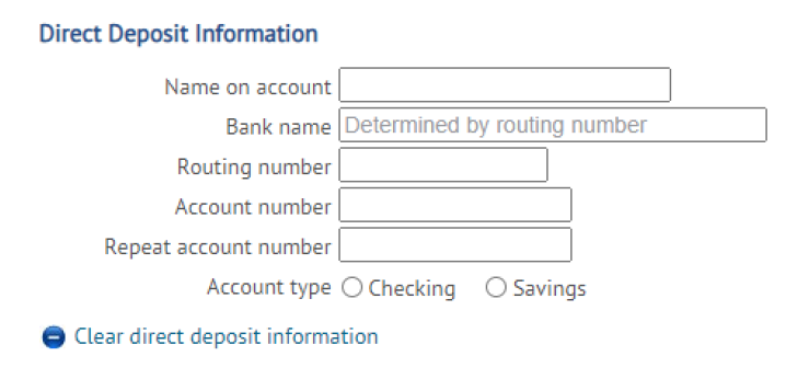 Direct Deposit Info