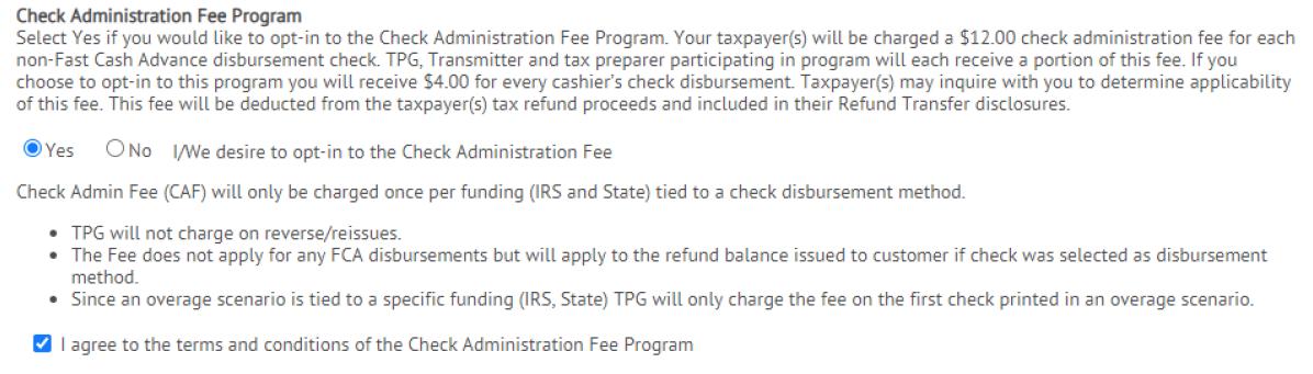 Check admin fee